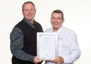 Bruce Morgan and Jean Pick with ISO 27001 Certificate